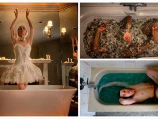 Lago dei Cigni Corey Baker, Bath Ballet con ballerini che danzano in vasche da bagno