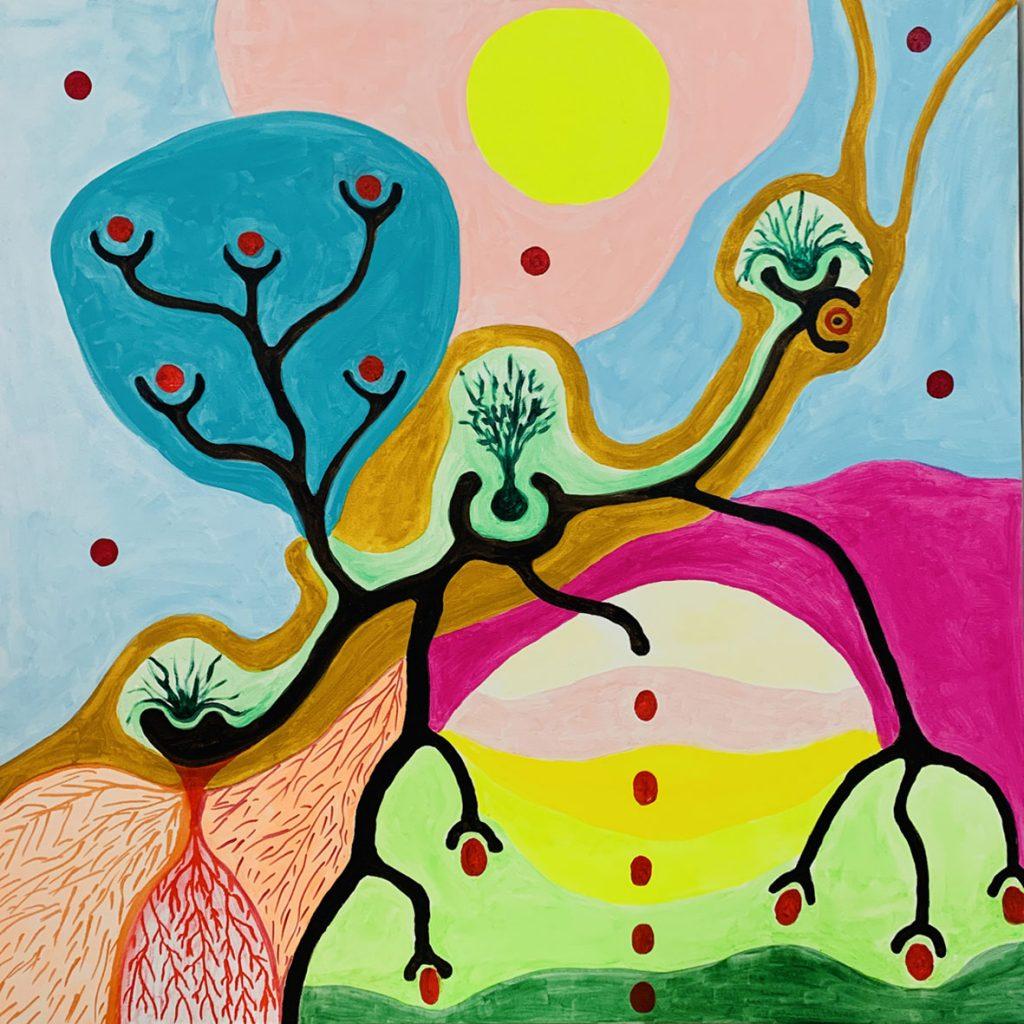 """L'immagine è una composizione astratta e policroma eseguita ad acrilico e pennarelli su tela intitolata """"L'incognito"""""""