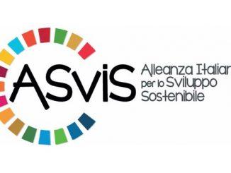 logo Asvis, Alleanza Italiana per lo Sviluppo Sostenibile con un semicerchio formato da alcuni quadratini colorati di colore diverso