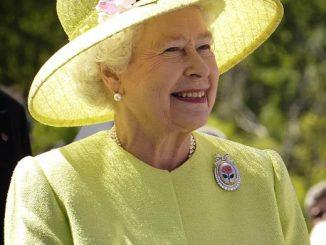 estetica e politica, la regina Elisabetta II in abito verde pastello e cappello con fiori rosa