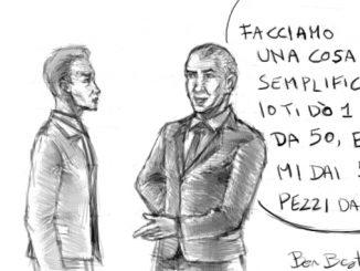 Pubblica Amministrazione kafkiana, vignetta satirica di Ben Bestetti: come complicare la vita ai cittadini con giri di denaro e passacarte