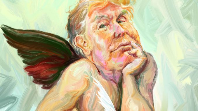 in this photo you can see Donald Trump with two wings like an angel who writes a novel on a white piece of paper