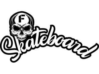 in this black and white photo you can see a white skull and the word Skateboard