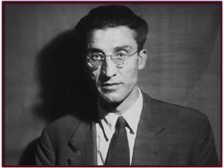 Black and white photo of Cesare Pavese, half body, suit and tie on dark background