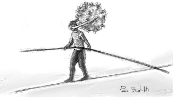 pandemia globale, il covid copre gli occhi di un equilibrista