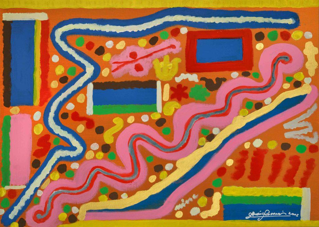 nella foto si vede un dipinto del pittore Ottavio Rossani astratto con tanti colori accesi diversi, rosa, rosso, giallo, verde, blu.