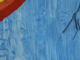 Disegno, base azzurra con un arcobaleno in alto a sinistra e due mani che si intrecciano in alto a destra