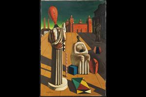 """l'immagine è una riproduzione del quadro """"Le Muse inquietanti"""" dell'artista metafisico Giorgio De Chirico. Una piazza silenziosa circondata da alcuni edifici con alcuni manichini e statue composte in primo piano"""
