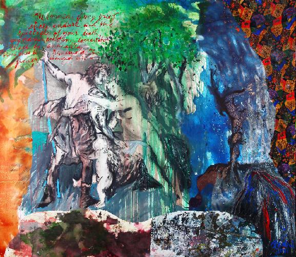 L'immagine mostra l'opera di Bedri Baykam, Venere e Adone dopo Rubens, 206x236 cm, tecnica mista su tela, 2011.