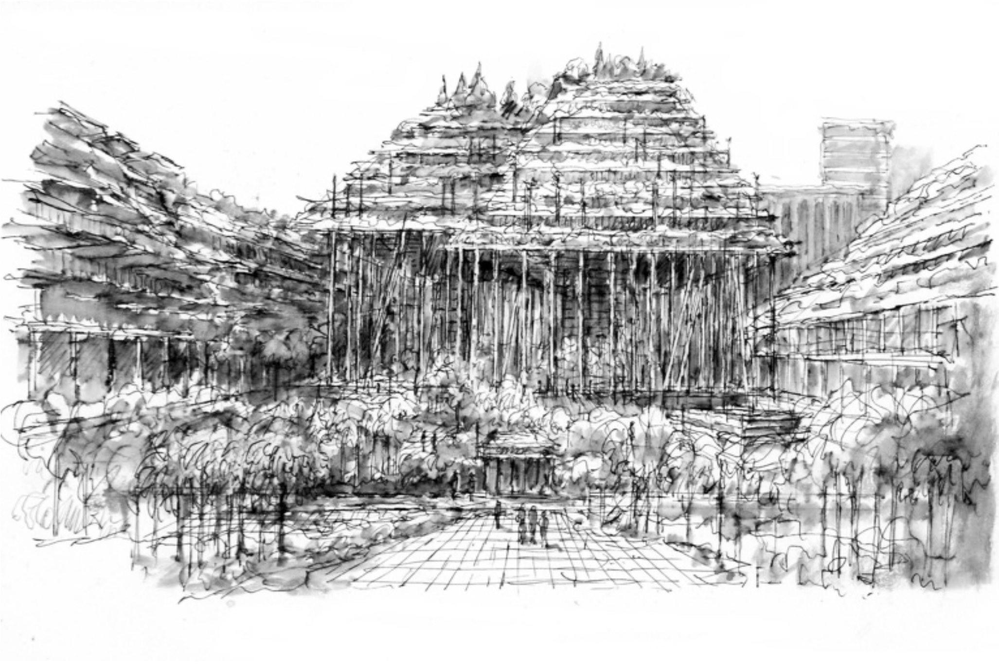 nella foto si vede un edificio disegnato a inchiostro nero con molti alberi davanti