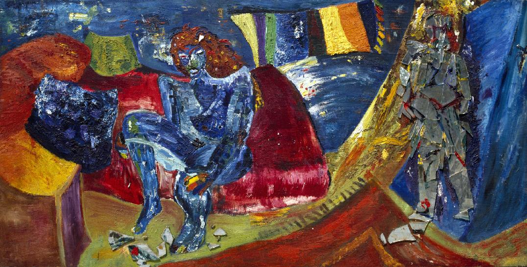 L'immagine mostra il dipinto di Bedri Baykam, La stanza della prostituta. Olio e specchio su compensato. 120x240 cm, 1981.