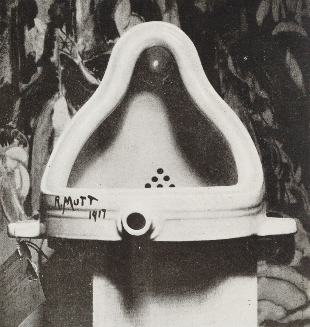 "The picture is a black and white photography of Marcel Duchamp's famous artwork ""Fontaine"" that consist in a stolen and reversed urinal with a black signature on the lower part ""R.MUTT 1917"""