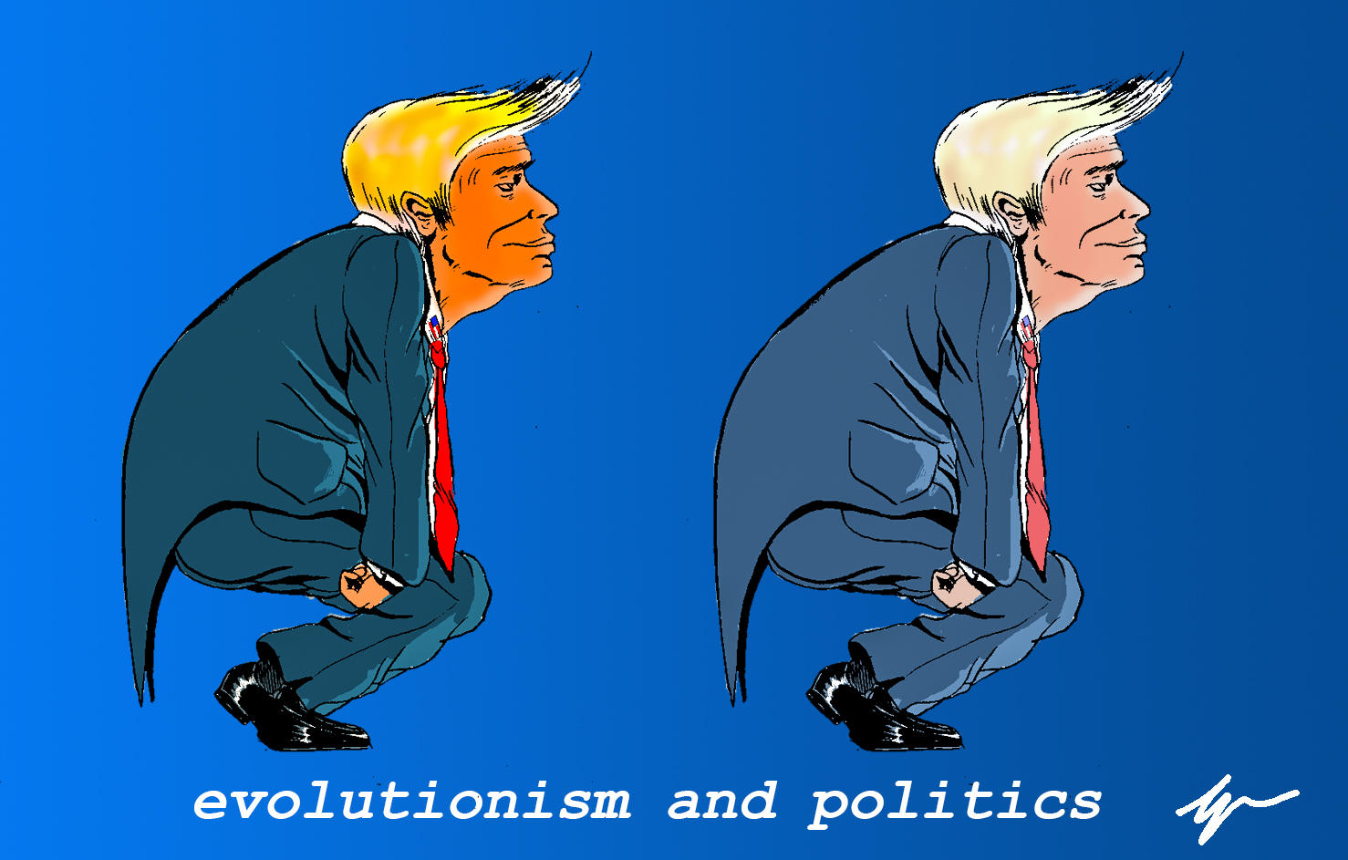 the picture is a satyrical cartoon with two version of US president Donald Trump in a prehistoric man-like pose. The only difference between the two is the color saturation