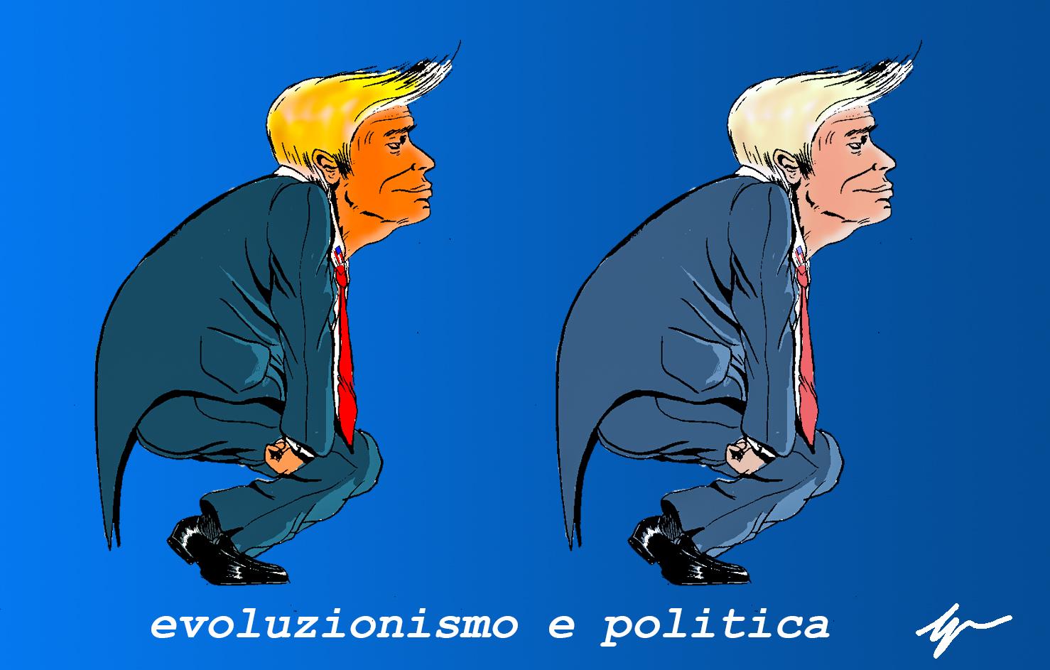 L'immagine è una vignetta satirica che mostra due il presidente USA Donald Trump in posa simile a quella di un cavernicolo di profilo. L'immagine si ripete due volte con la sola differenza della saturazione. lo sfondo è azzurro