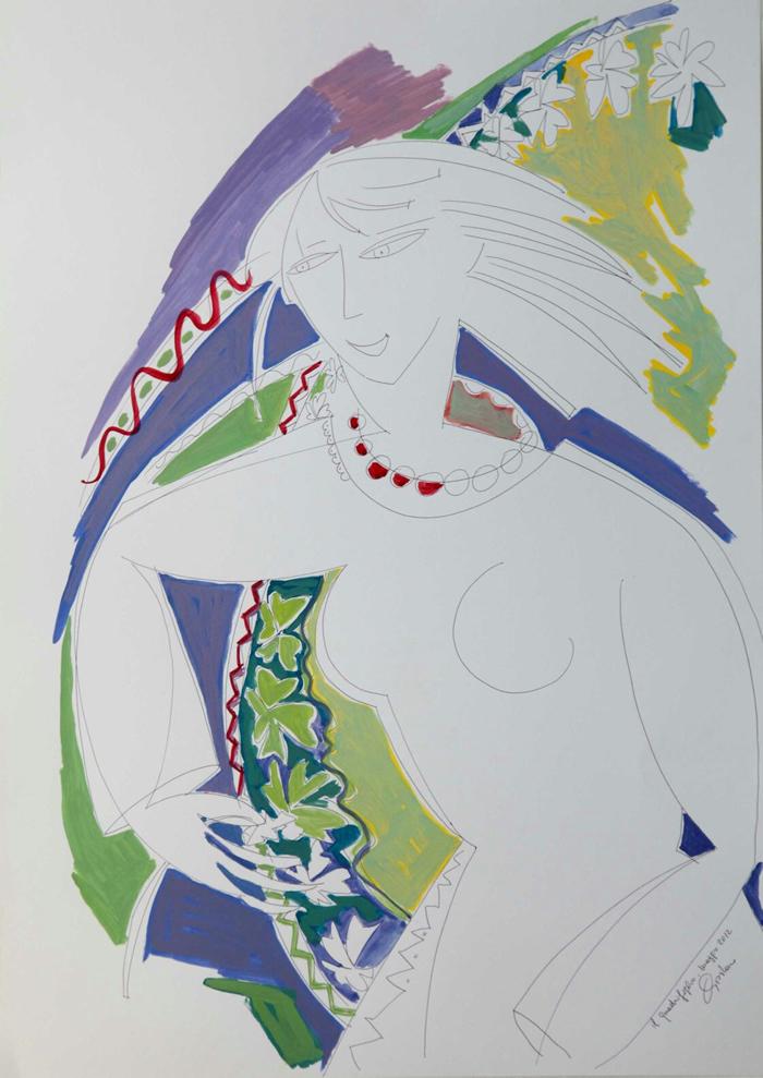 nella foto a colori si vede un nudo di donna stilizzato che stringe in una mano due quadrifogli