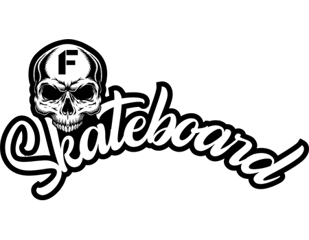 logo della rubrica Skateboard con la scritta in bianco e nero Skateboard e l'immagine di un teschio bianco con la lettera F sulla fronte