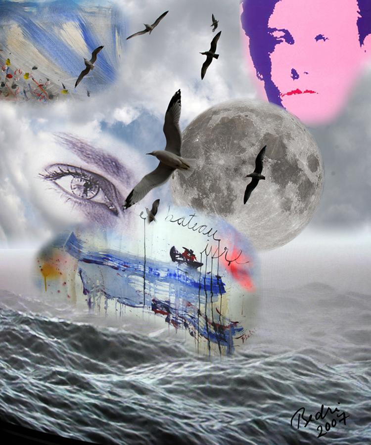 l'immagine mostra l'opera dell'artista turco Bedri Baykam, The drunken boat. 4D, 120x90 cm, 2007
