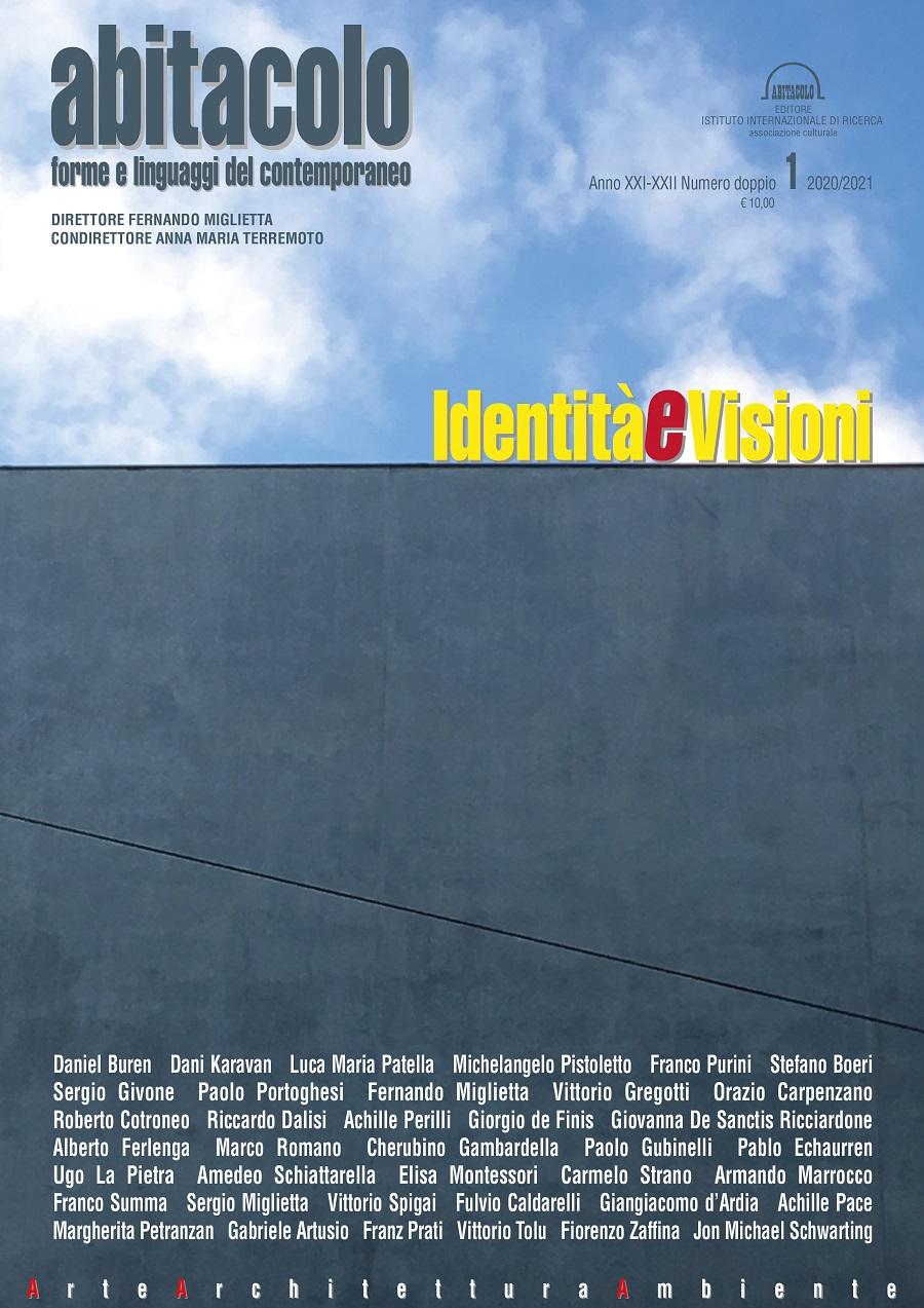 nella foto a colori si vede la copertina della rivista Abitacolo con l'elenco di tutti i contributors