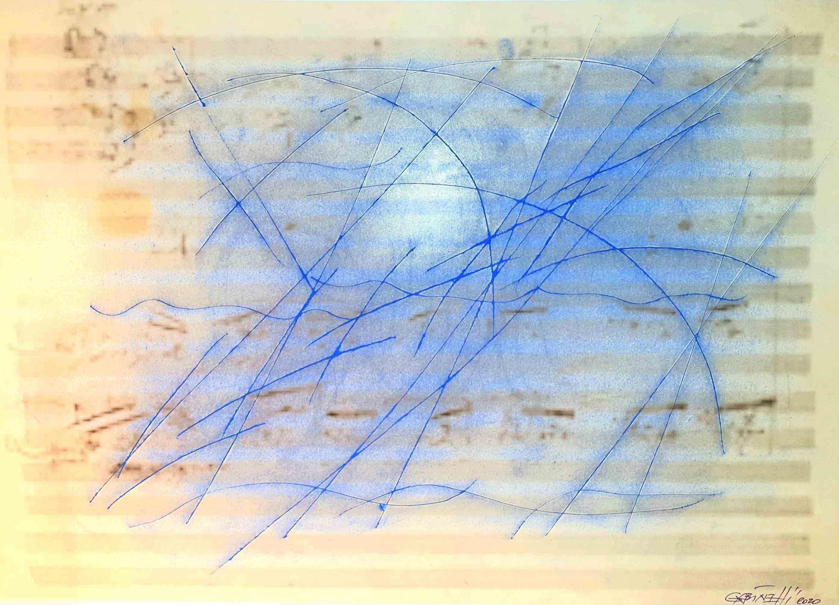 Incisione sulla quale segni di colore blu chiaro coprono uno spartito musicale di colore giallo chiaro.