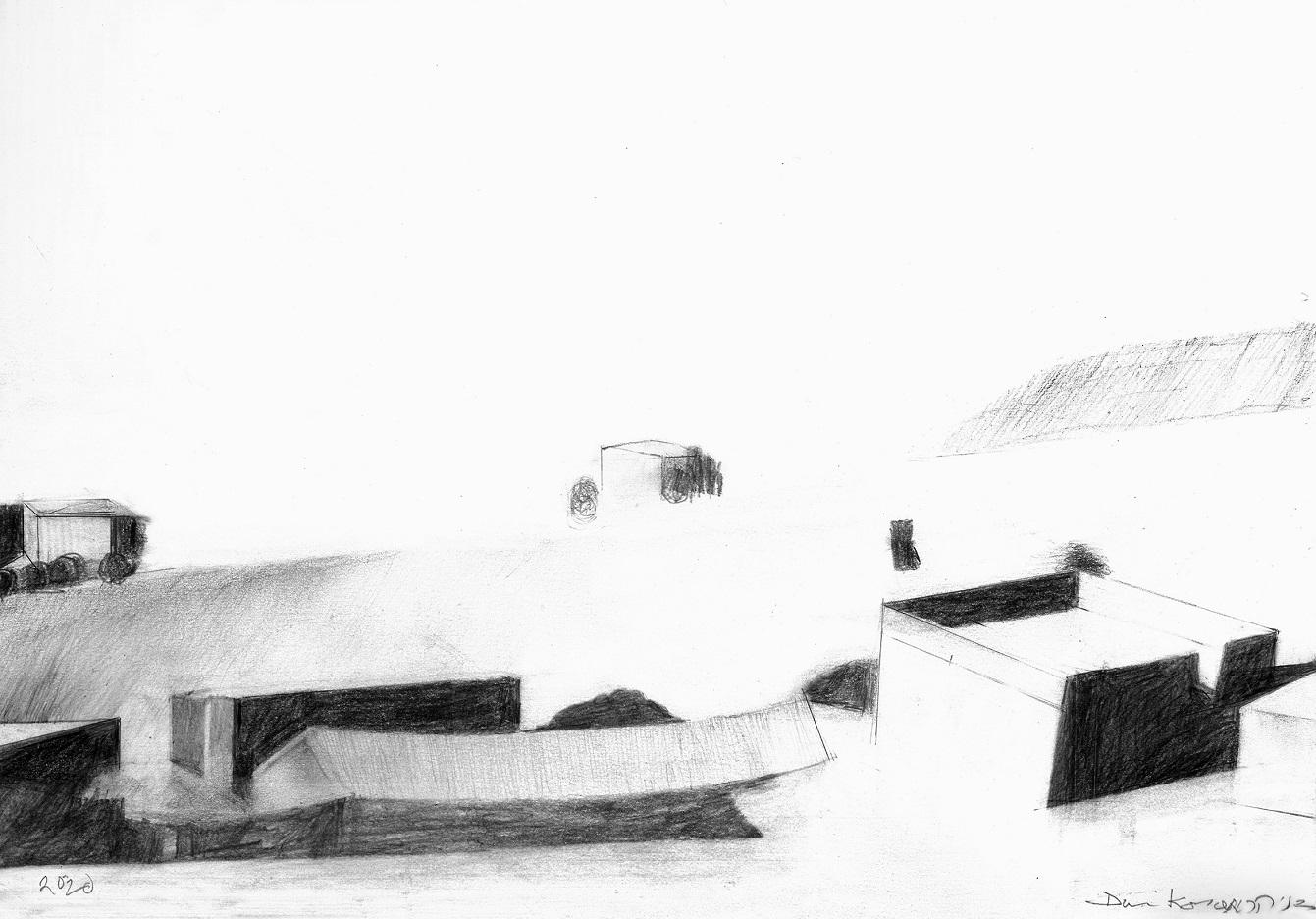 nella foto in bianco e nero si vedono una serie di edifici ondulati