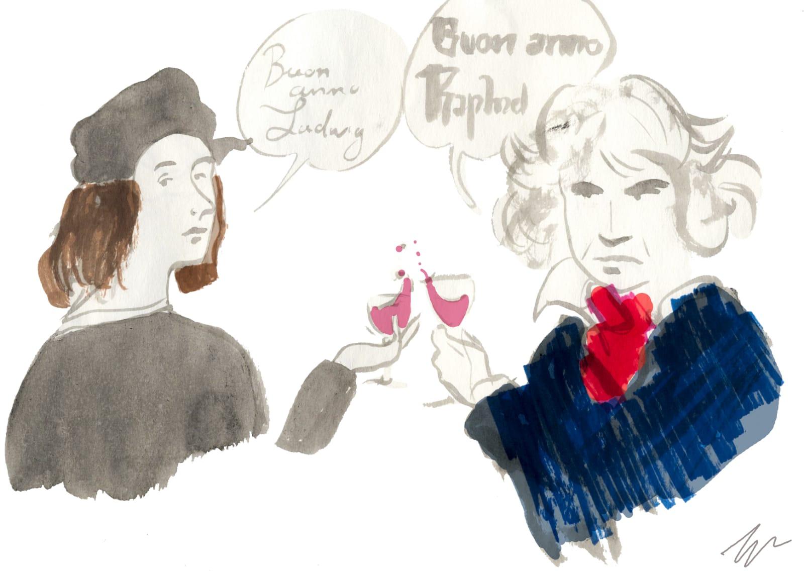 L'augurio per il 2021 da Raffaello e Beethoven che brindano, dei quali si sono celebrati nel 2020 i due anniversari di morte e nascita