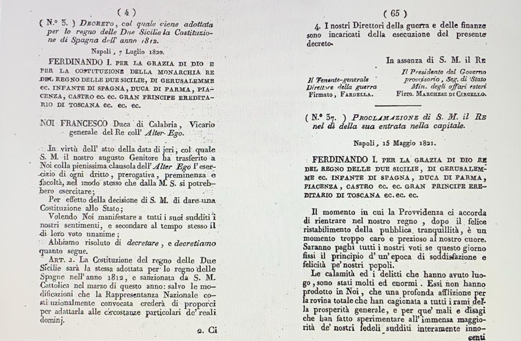 Testo del decreto del re delle due Sicilie che adotta come costituzione del regno la costituzione spagnola, diventando di fatto la prima costituzione italiana