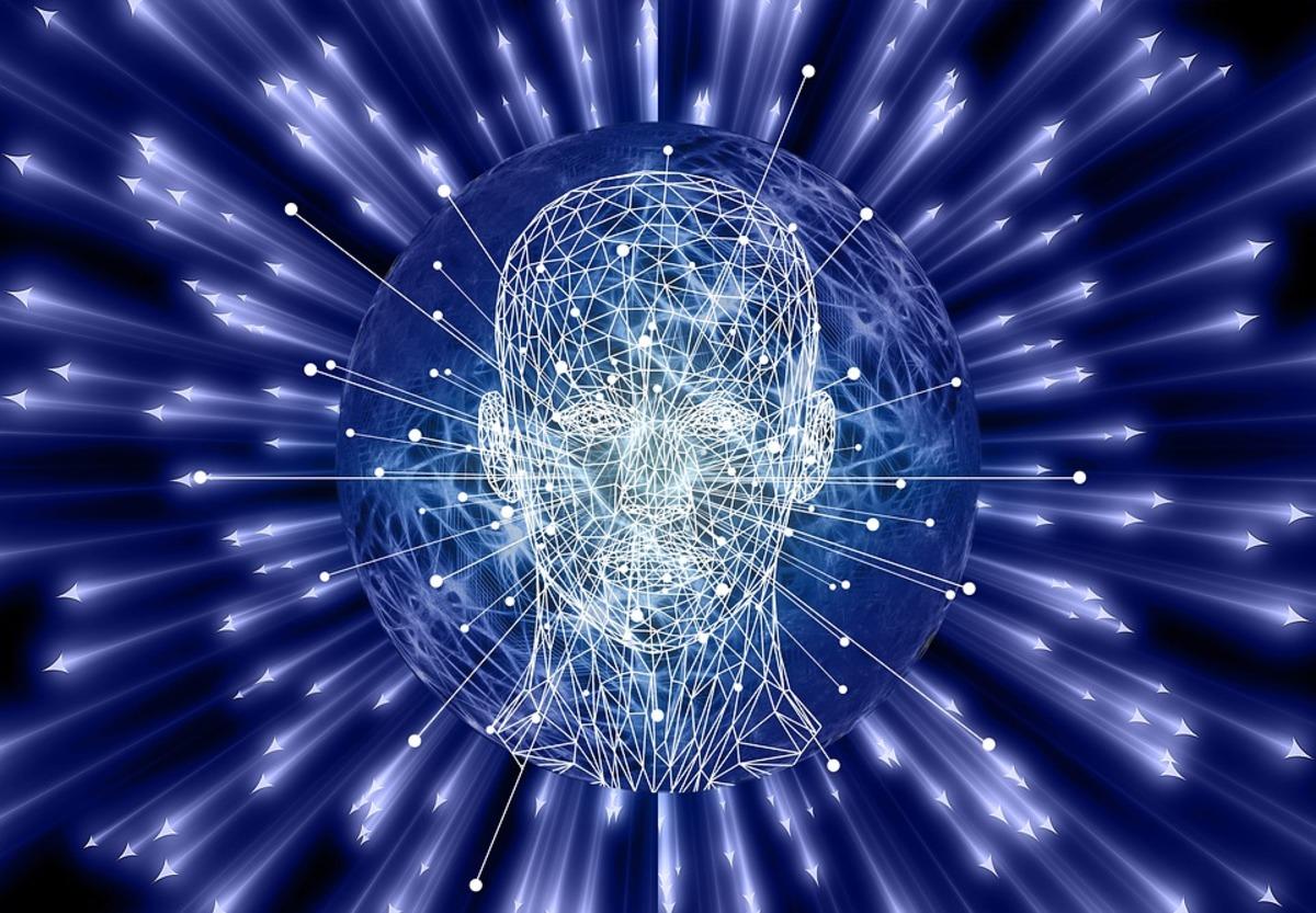nella foto i cui colori sono nero, bianco e blu, si vede una sagoma di testa umana con reticolato simile a un robot
