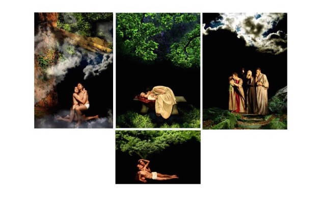 In the photograph, the installation by Ester Ségal consisting of four photographs depicting men, women and natural environments with a black background