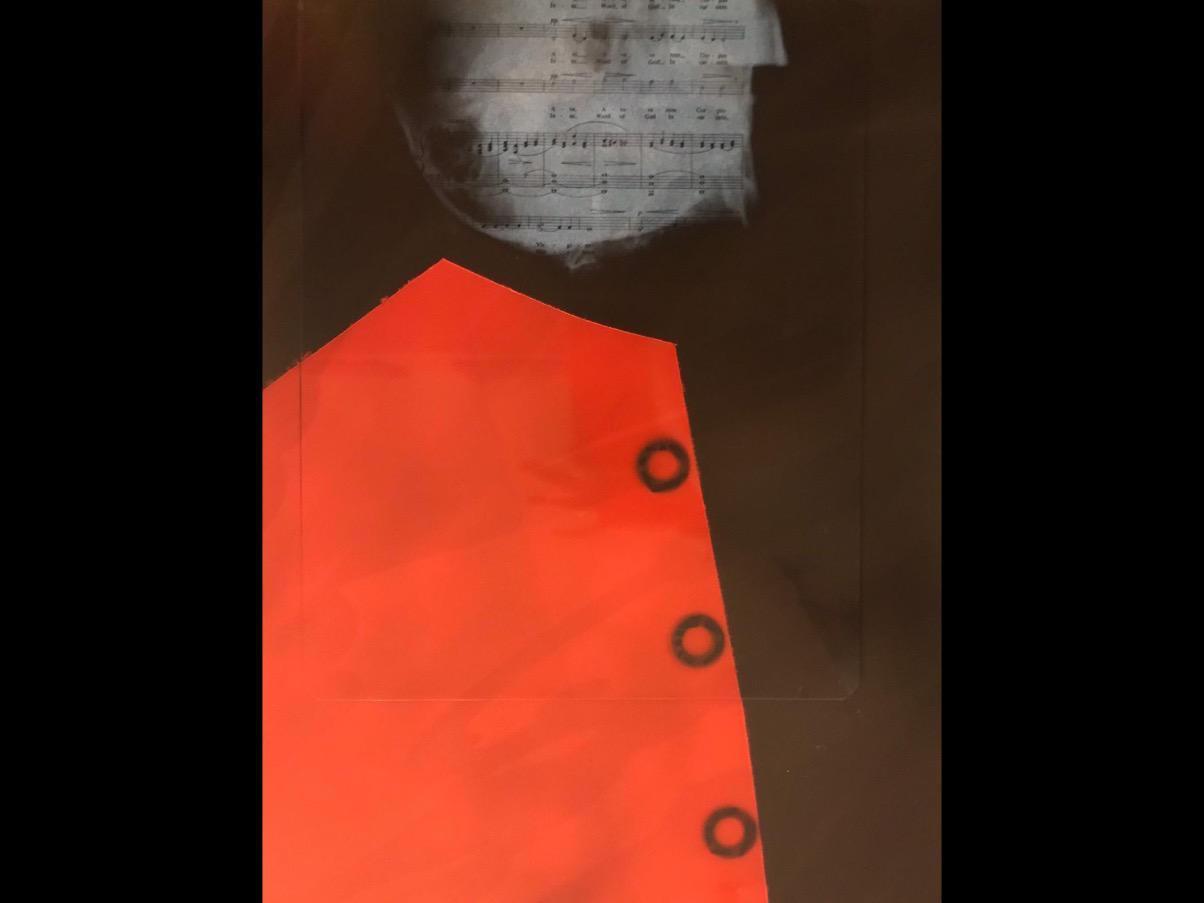 dipinto dell'artista Feueu Tola che rappresenta idealmente il genio Mozart con una giacca rossa stilizzata e il volto abbozzato con uno spartito musicale.