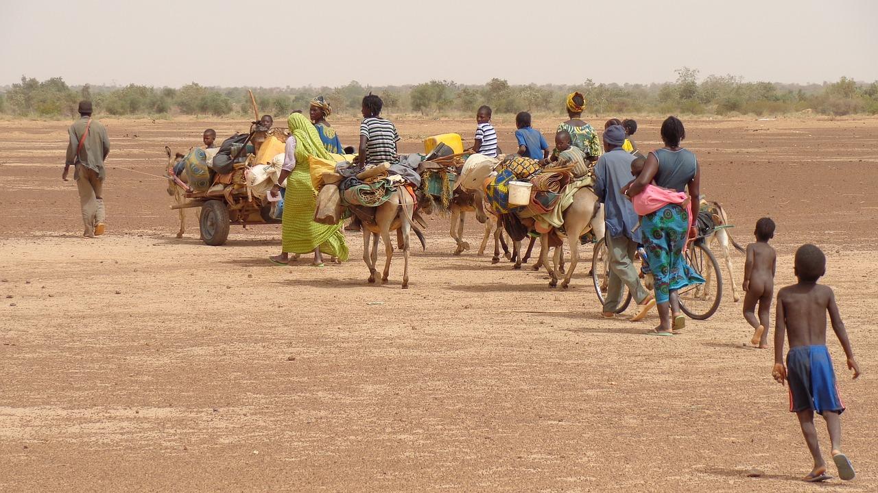 L'immagine mostra un eterogeneo gruppo di africani in marcia nella savana. Vi sono uomini, donne, adulti e bambini (alcuni di essi nudi), vestiti in vario modo (vesti tradizionali o abiti rattopati), alcuni a piedi, acluni a dorso d'asino o su carretti trasportati