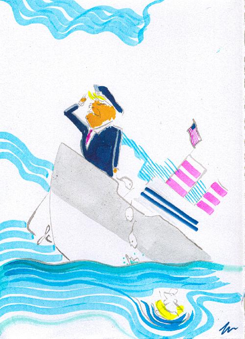 Un uomo, si riconosce (Trump), che affonda su una nave.
