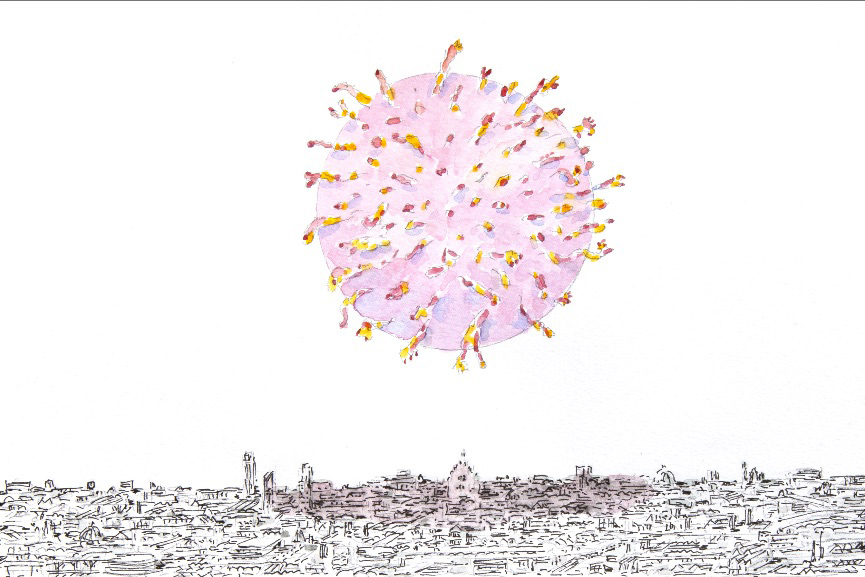 The picture is a drawing that represent a covid-19 cell floating over a sketched city