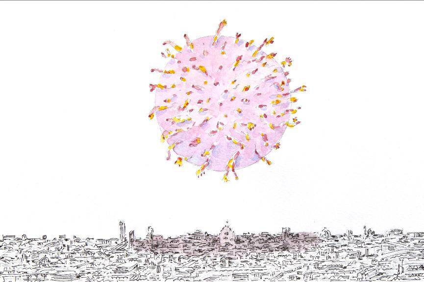 L'immagine è un disegno che mostra una versione stilizzata del coronavirus su uno sofnod bianco, nella cui parte bassa si vede una città stilizzata
