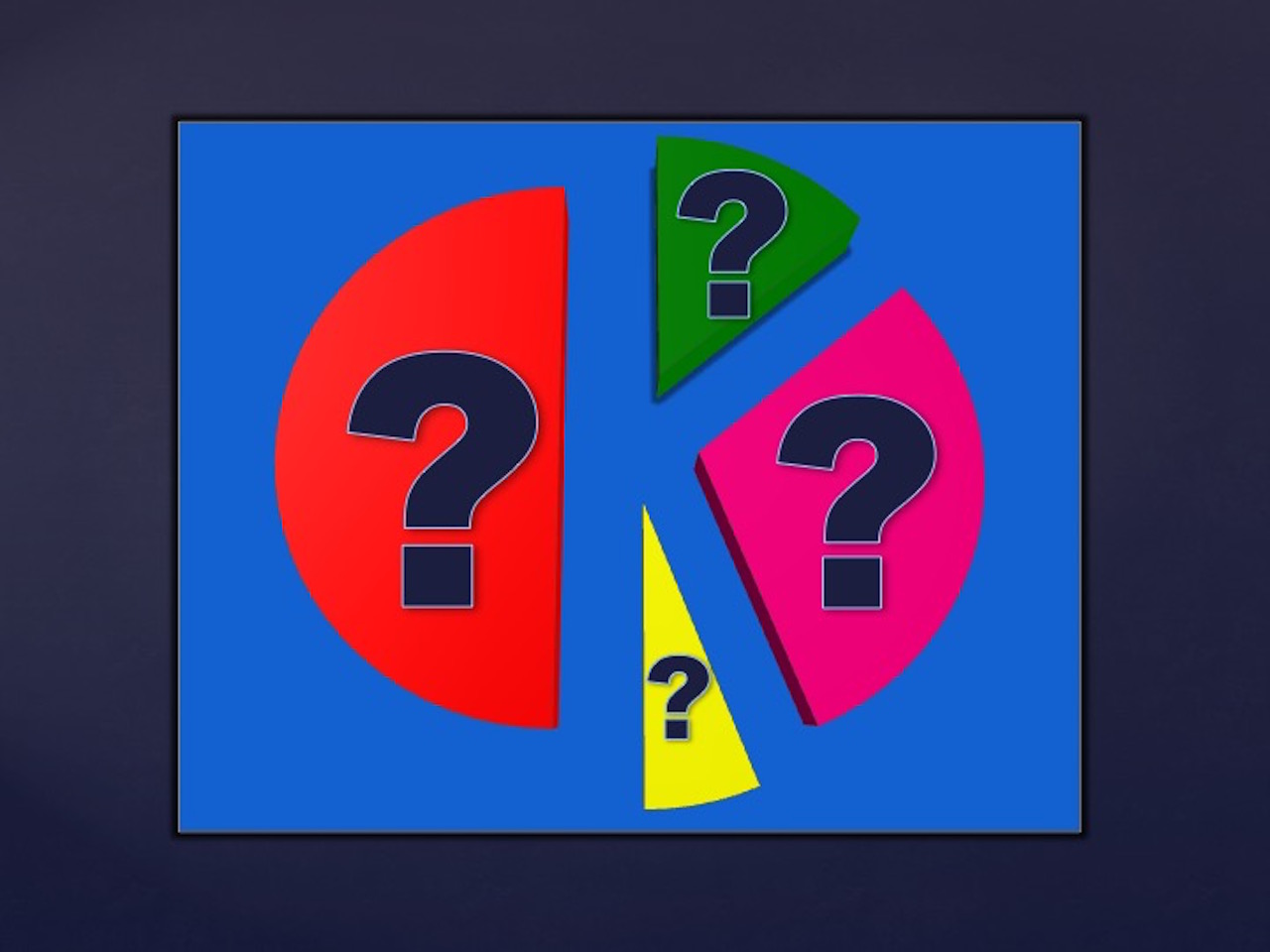 Pie chart with colorful red green pink yellow slices, on light blue background and blue-violet frame, and question marks on each slice