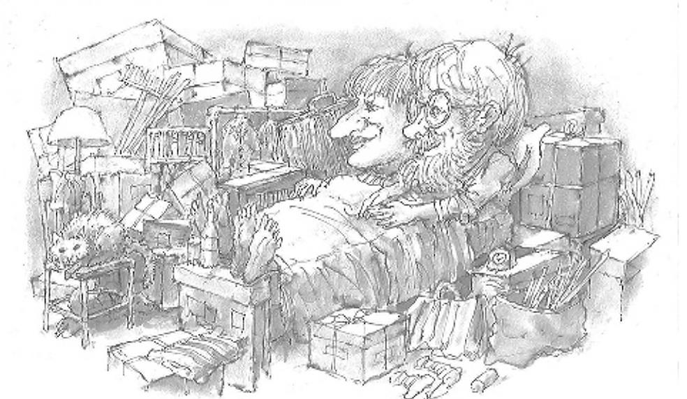 L'immagine è una vignetta che mostra una coppia di mezza età, sullo sfondo di una stanza disordinata, ricolma di scatoloni ed un gatto seduto su uno sgabello. L'uomo ha barba, baffi e occhiali ed è in un letto assieme alla moglie, dal naso enorme e con i piedi fuori dalla coperta