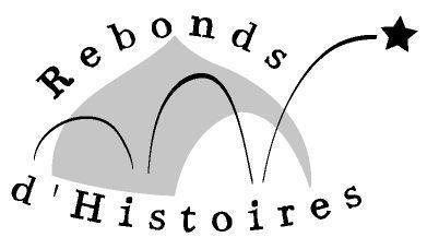 logo della compagnia Rebonds d'Histoires, un tendone per spettocoli e tre segni grafici tipici del fumetto che indica no i rimbalzi.