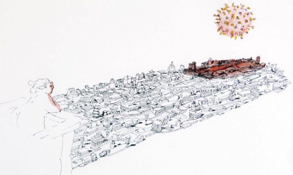 Disegno che mostra la visione dall'alto di uno spaccato urbano sovrastato dall'icona del virus. L'osservatrice è una opulenta donna affacciata ad un terrazzo collocato sull'estrema sinistra del paesaggio.