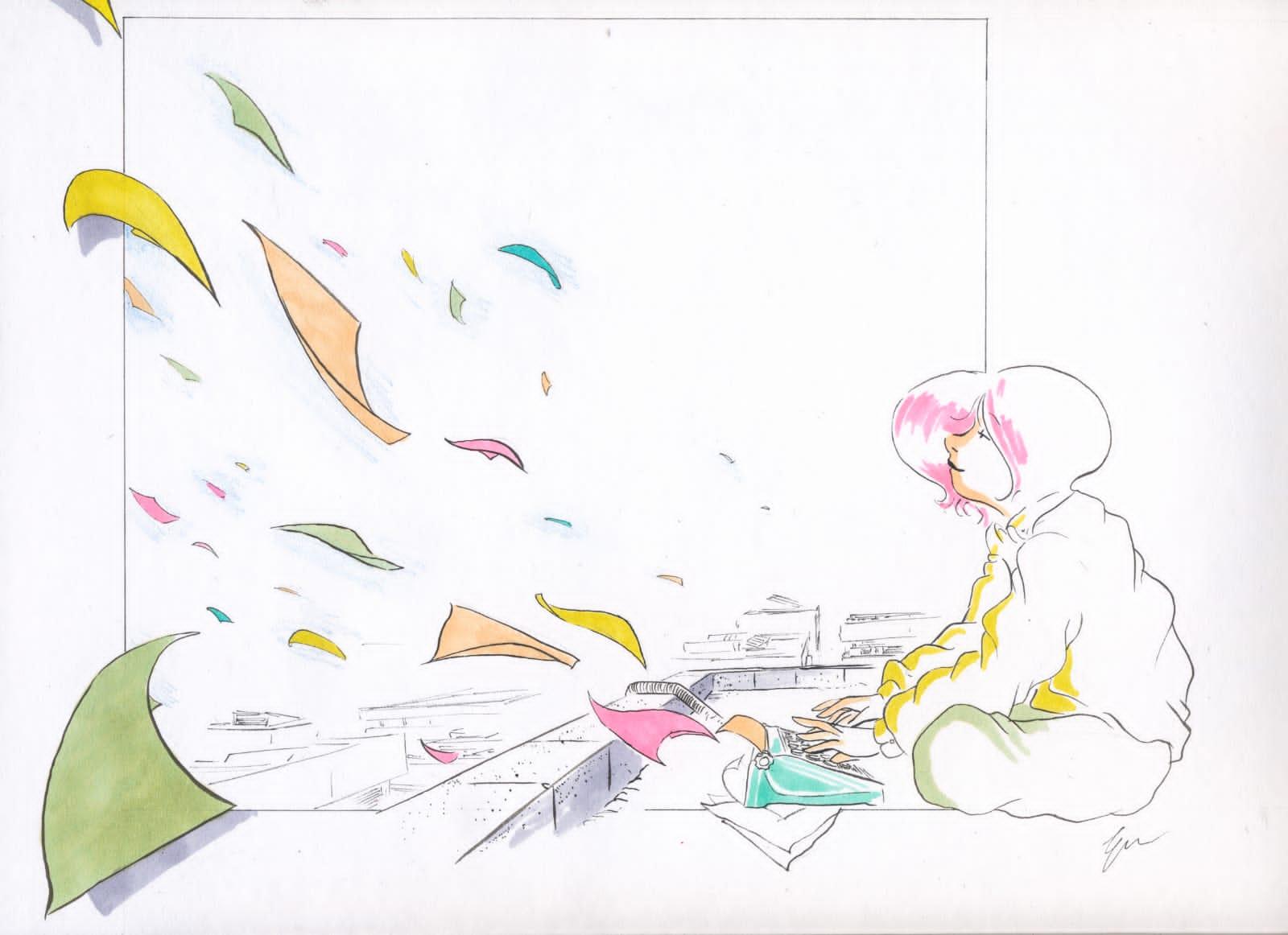 Nel disegno una ragazza seduta per terra scrive a macchina mentre fogli di carta colorati volano in aria