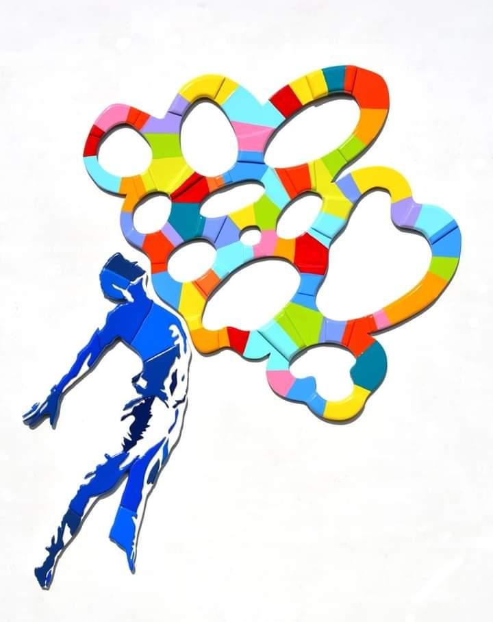 l'immagine mostra la sagoma stilizzata di un uomo rappresentato attraverso ombreggiature dalle tonalità blu e azzurre, nell'atto di saltare verso una sagoma astratta e variopinta dalle linee curve e dalle tinte arcobaleno