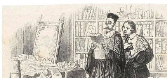 nella foto in bianco e nero si vedono due uomini, uno è l'Avvocato Azzeccagarbugli. Uno di loro indossa occhiali e legge un foglio.