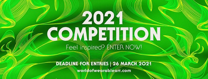 Su uno sfondo verde con tratti grafici curvilinei il testo 2021 COMPETITION per la registrazione al premio WOW neozelandese World of WearableArt