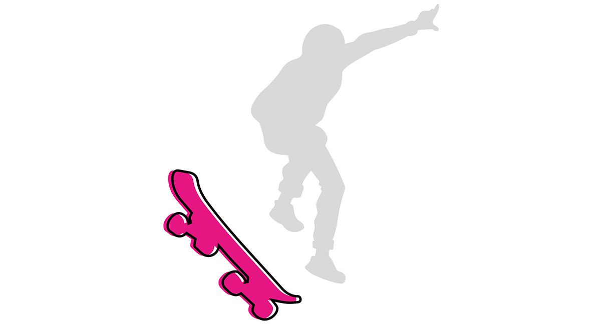 nella foto il logo a colori della rubrica skateboard; si vede uno skateboard fucsia piegato a sinistra e la sagoma stilizzata grigia di un ragazzo che saltella sullo skateboard