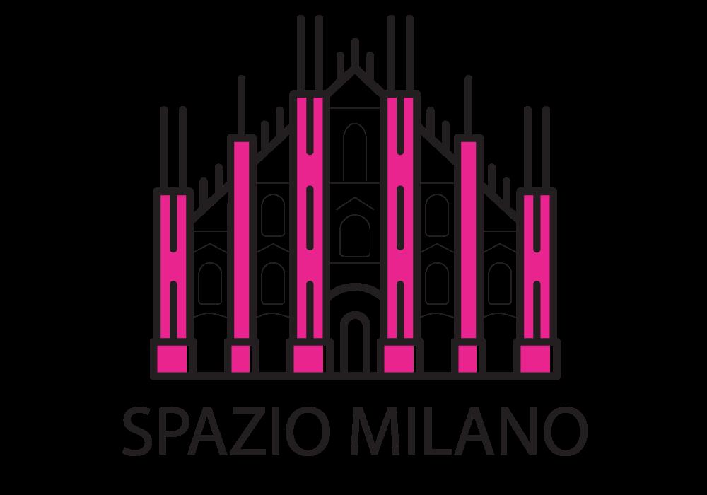 logo della rubrica Spazio Milano con l'immagine della facciata del Duomo in bianco e rosa shocking e la scritta Spazio Milano sotto in nero.