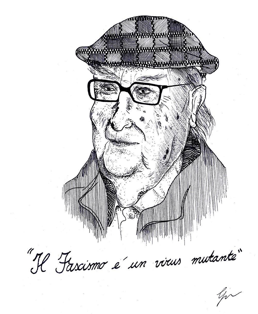 """il disegno di Gabriele Artusio in bianco e nero ritrae lo scrittore Andrea Camilleri con gli occhiali e un cappello e sotto la scritta """"Il fascismo è un virus mutante"""""""
