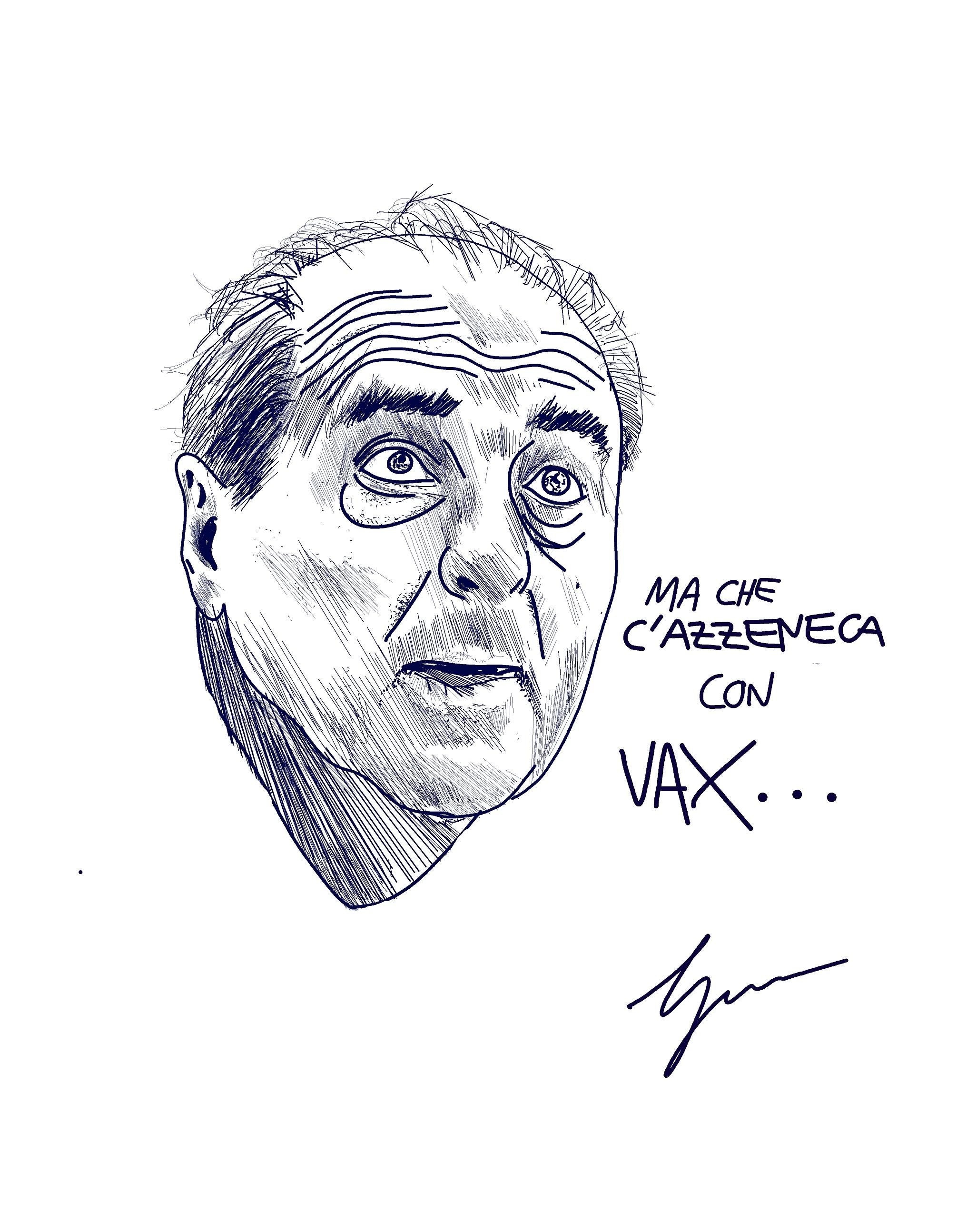 """nel disegno di Gabriele Artusio si vede la testa in bianco e nero del politico Antonio Di Pietro con la scritta """"Ma che c'azzecca con Vax"""""""
