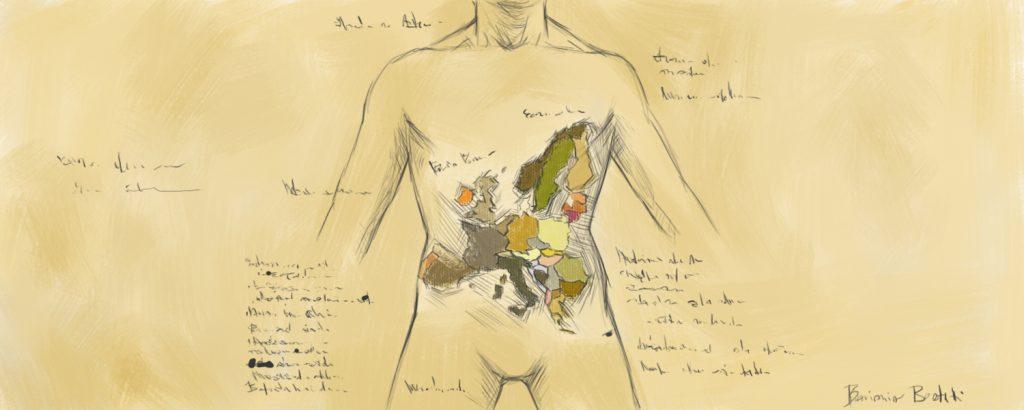 nel disegno a colore arancione pastello si vede la sagoma di un corpo umano con, all'interno, al posto degli organi, gli Stati dell'Uione Europea colorati diversamente