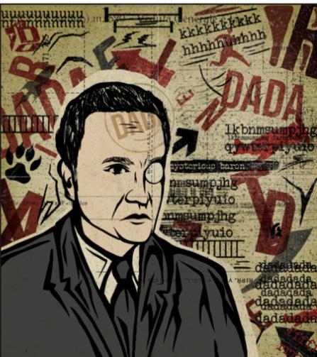 L'immagine mostra un opera dell'artista Bruno Evola. Un uomo con un impermeabile è raffigurato a mezzobusto ed il suo occhio destro è coperto da una lente di vetro. La figura è in bianco enero mentre lo sfondo è realizzato con toni seppia e rosso