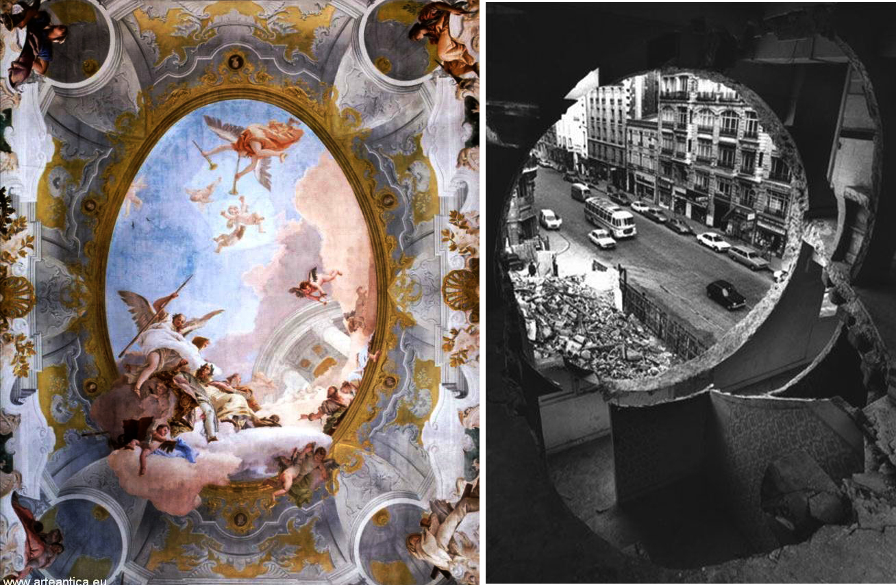 there are two photos, one in color and one in black and white: on the left a fresco by Tiepolo and on the right a photo of Paris seen from a porthole