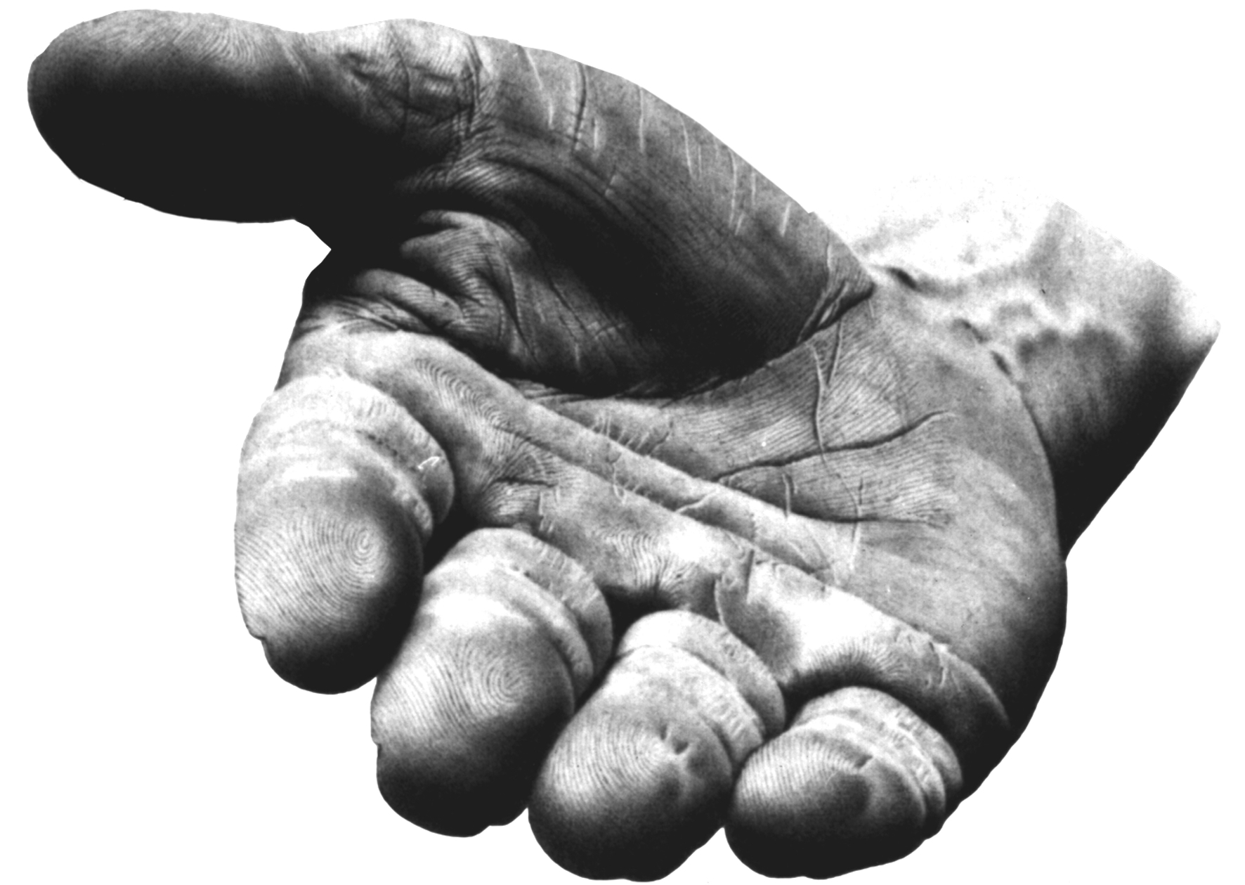 the black and white photo shows a hand in the foreground open pointing