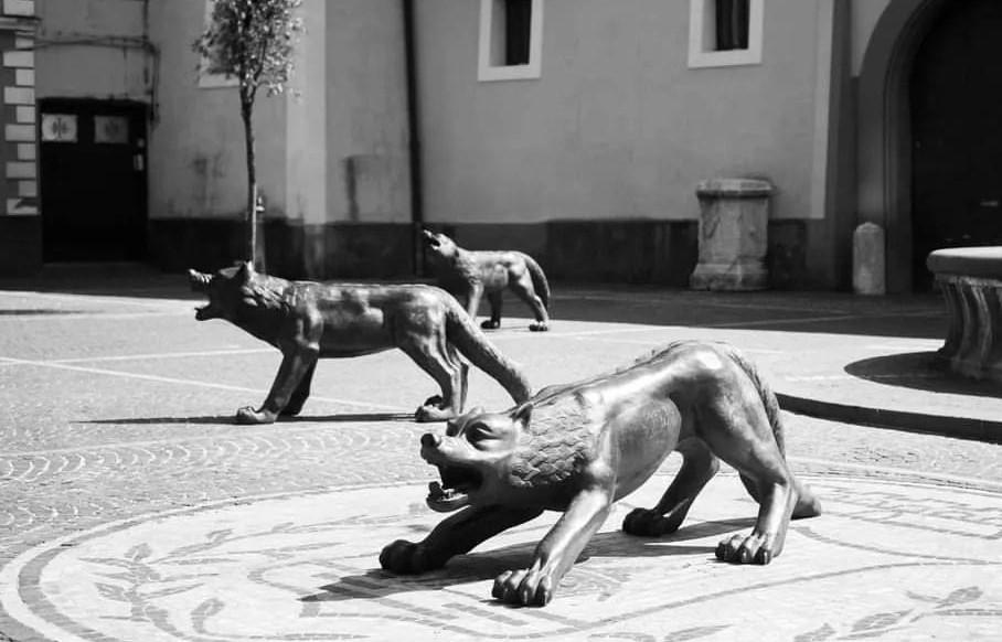 la foto in bianco e nero ritrae tre sculture a forma di lupo in una piazza del Comune di Avella